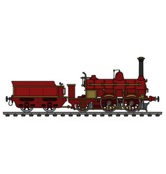 vintage red steam locomotive vector image vector image