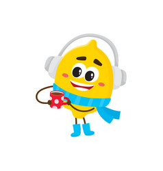Winter fruit lemon in headphones hot cup vector