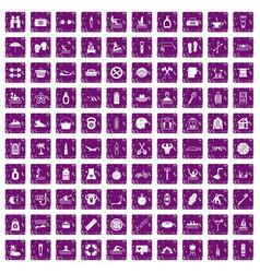 100 human health icons set grunge purple vector