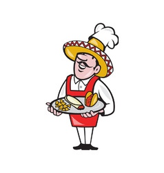 Mexican chef cook plate tacos burrito corn chips vector