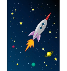 rocket ship in space vector image