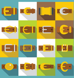 Belt buckles icons set flat style vector