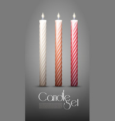 Colorful twisted burning candles collection vector