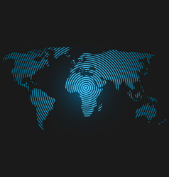 World map of concentric rings blue led light vector