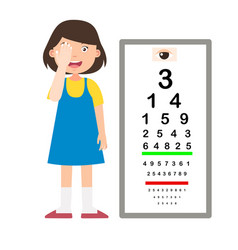 Girl with eye chart test diagnostic vector