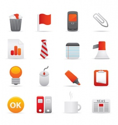 office icons red vector image