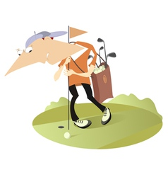 Tired golfer vector