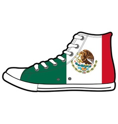 Isolated modern sneakers with mexico flag vector