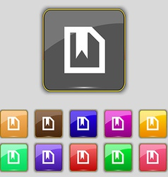 Bookmark icon sign set with eleven colored buttons vector