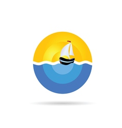 Boat sail on the sea color vector
