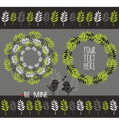 Set of decorative elements with plants vector