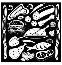 Black and white food pattern vector