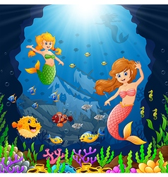 Cartoon mermaid under the sea vector