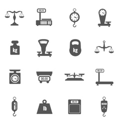 Scales weighing weight black icons set vector