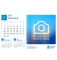 Desk calendar for 2017 year design print template vector