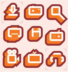 Grid icons for media vector