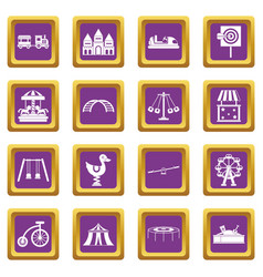 amusement park icons set purple vector image