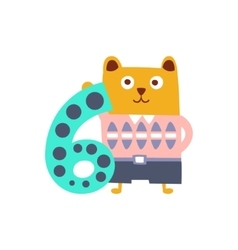 Bear Standing Next To Number Six Stylized Funky vector image