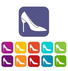 Bride shoes icons set vector