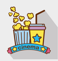 Cinema with popcorn soda beverage vector