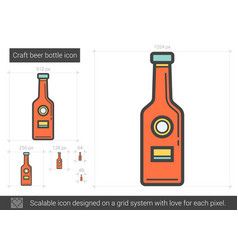 Craft beer bottle line icon vector
