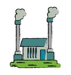 Drawn industrial factory buiding pollution symbol vector