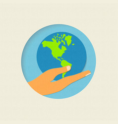 Earth day paper cut world environment concept vector