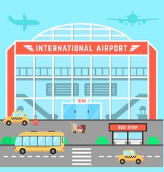 Facade airport with bus stop vector
