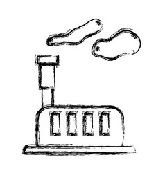 Figure industrial factory with pollution vector
