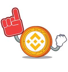 Foam finger binance coin mascot catoon vector