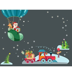 Funny color christmas background with a toy train vector