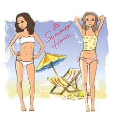 Girls on the beach vector