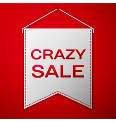 Grey pennant with inscription crazy sale over a vector