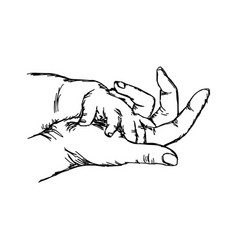 hand of baby on mother sketch hand vector image vector image