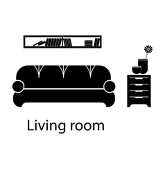Home and hotel living room interior with furniture vector image