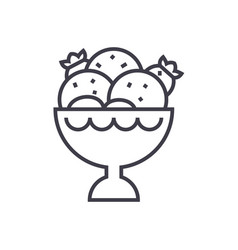 ice cream bowl line icon sign vector image