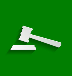 Justice hammer sign paper whitish icon vector