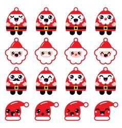 Kawaii Santa Claus cute character icons - head vector image vector image