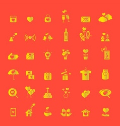 love icons gold vector image