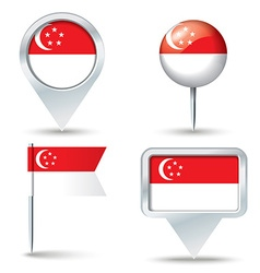 Map pins with flag of Singapore vector image