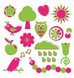 pink and green nature elements vector image