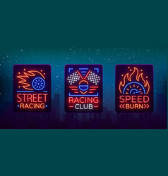 Racing neon billboard logos pattern a glowing vector