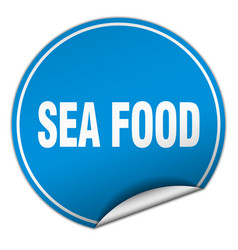 Sea food round blue sticker isolated on white vector