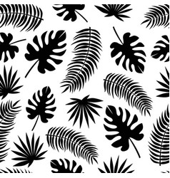 Seamless pattern with black silhouettes of leaves vector