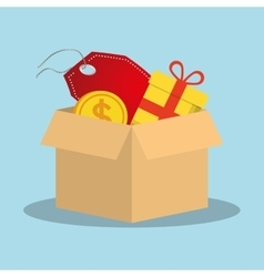 Shopping online box gift tag price coin vector