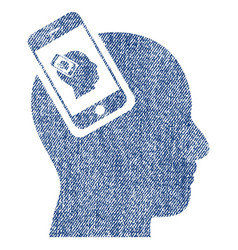 Smartphone head plugin recursion fabric textured vector