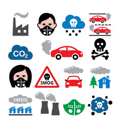 smog pollution anti pollsution mask icons vector image vector image