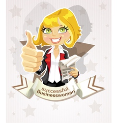 Successful businesswoman poster with pretty blond vector image vector image