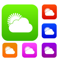 Sun and cloud set collection vector