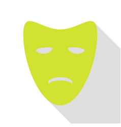 Tragedy theatrical masks pear icon with flat vector